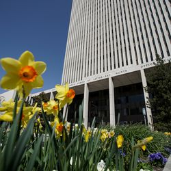 The Church Office Building of The Church of Jesus Christ of Latter-day Saints Office is pictured during the 190th Annual General Conference on Saturday, April 4, 2020, in Salt Lake City. Due to the spread of COVID-19, the conference, normally held at the 21,000-seat Conference Center, is being broadcast from the Church Office Building without church members in attendance.