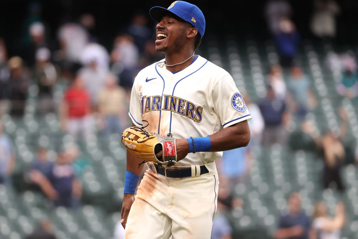 Kyle Lewis #1 of the Seattle Mariners celebrates after defeating the Texas Rangers 4-2 at T-Mobile Park on May 30, 2021 in Seattle, Washington.