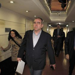 The top U.S. diplomat for East Asia, Kurt Campbell, front,  arrives at a hotel in Beijing, China, in the early morning of Sunday, April 29, 2012.  Campbell arrived in China apparently to deal with the case of blind legal activist Chen Guangcheng who escaped house arrest in his Chinese village and is reportedly under the protection of American officials. Fellow activists say Chen Guangcheng, a blind lawyer who exposed forced abortions and sterilizations as part of China's one-child policy, fled house arrest a week ago and has sought protection at the U.S. Embassy in Beijing.