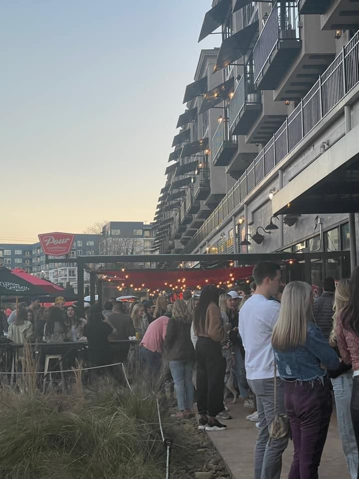 Saturday, January 23, 2021, a large crowd gathered on the patio of Pour Taproom on the Beltline during the COVID-19 pandemic