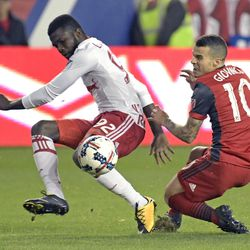 New York Red Bulls defender Kemar Lawrence (92) and Toronto FC forward Sebastian Giovinco (10) vie for the ball during the second half of an MLS Eastern Conference semifinal soccer match Monday, Oct. 30, 2017, in Harrison, N.J. Toronto FC won 2-1.