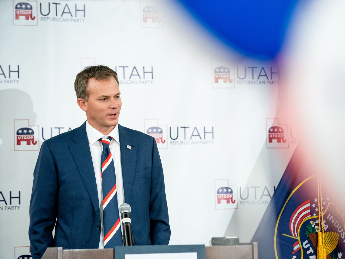 Blake Moore, Republican candidate for Utah's 1st Congressional District, speaks at an election night event for Republican candidates in at the Utah Association of Realtors building in Sandy on Tuesday, Nov. 3, 2020. Moore's opponent conceded the race Tuesday