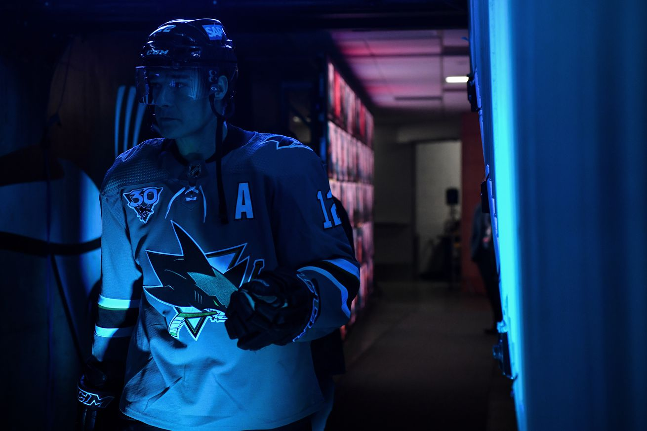 Patrick Marleau #12 of the San Jose Sharks takes the ice before the game against the Minnesota Wild at SAP Center on March 29, 2021 in San Jose, California.