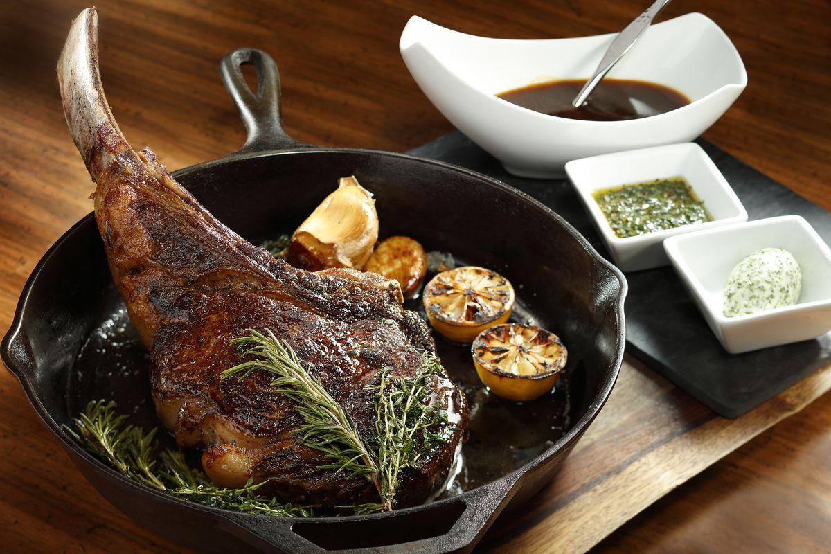 Tomahawk rib-eye steak at Morimoto