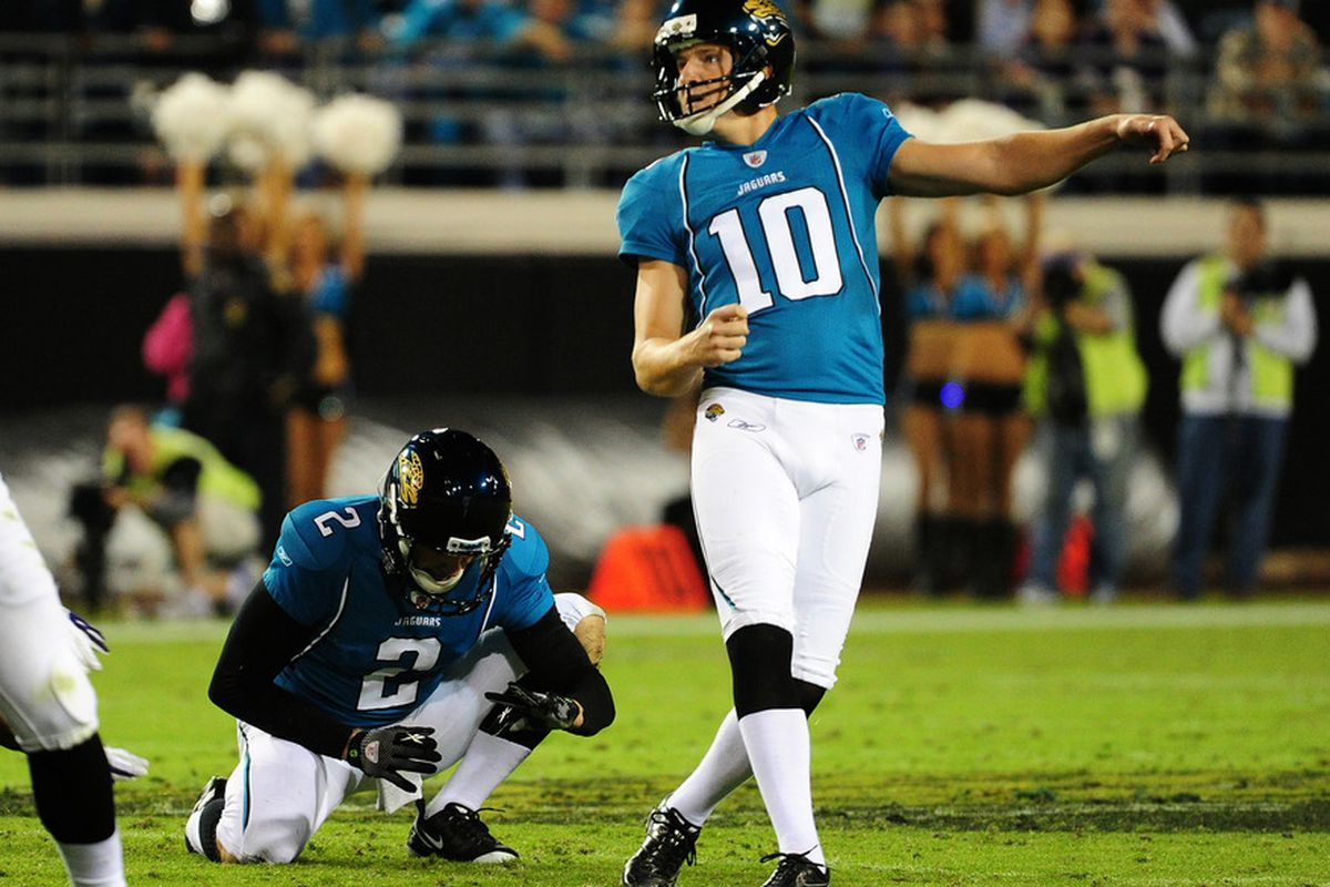 JACKSONVILLE, FL - OCTOBER 24: Josh Scobee #10 of the Jacksonville Jaguars kicks a field goal against the Baltimore Ravens at EverBank Field on October 24, 2011 in Jacksonville Florida. (Photo by Scott Cunningham/Getty Images)