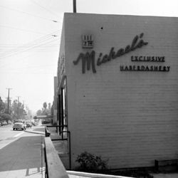 """Another shot of the store. Photo via <a href=""""http://lamorguefiles.blogspot.com/2012/07/mickey-cohens-sunset-blvd-clothing.html"""">LA Morgue Files</a>."""