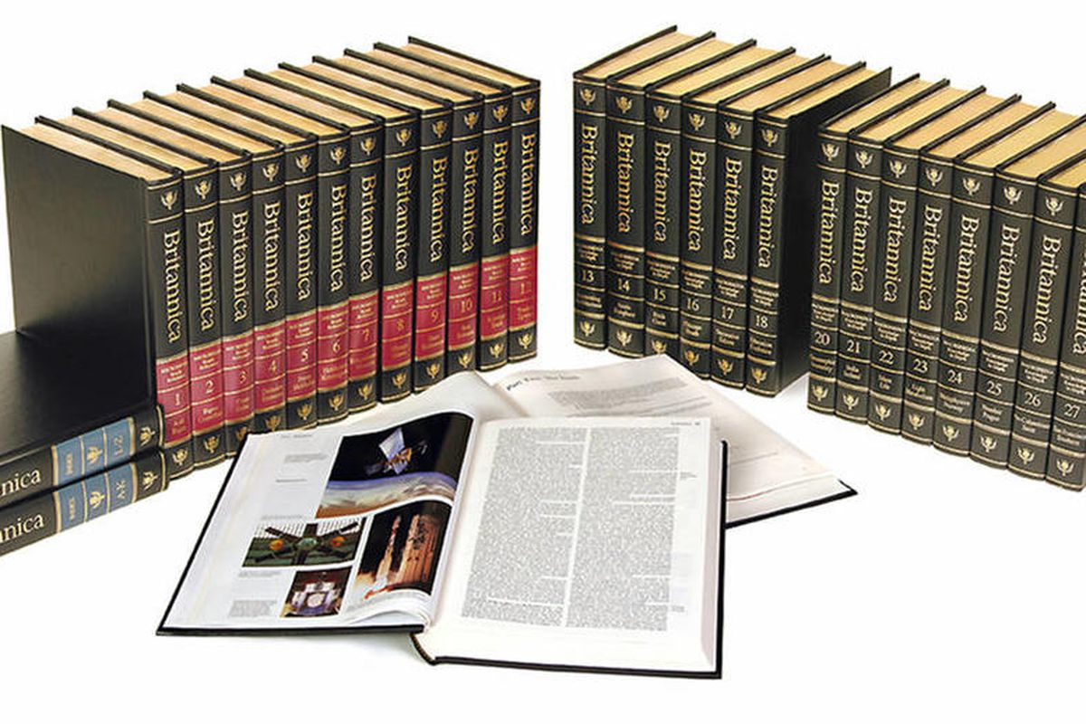 This undated photo provided April 5, 2012, by Chicago-based Encyclopaedia Britannica, shows the 2010 32-volume final print edition of the Encyclopaedia Britannica. Three weeks after announcing it will discontinue its print editions after 244 years, people