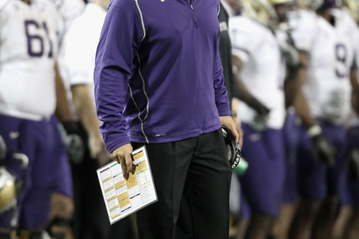 Head coach Steve Sarkisian of the Washington Huskies reacts badly to Lear Pilot's poll question. He doesn't just think the Huskies are going to win, he thinks they are going to win big!  (Photo by Christian Petersen/Getty Images)