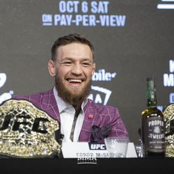 Conor McGregor is all smiles Thursday at the UFC 229 press conference in New York at Radio City Music Hall.