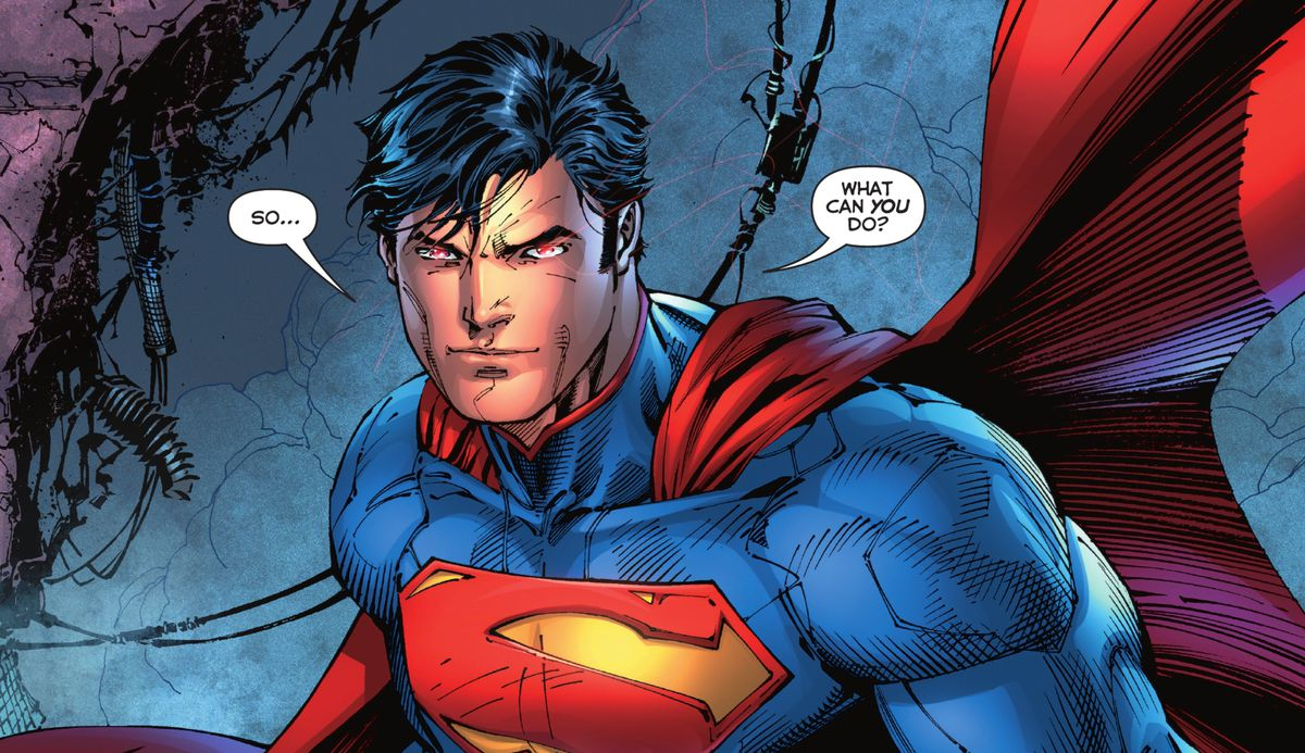 """Superman, eyes blazing slightly with laser vision, says """"So... what can you do?"""" in Justice League #1 (2011)."""
