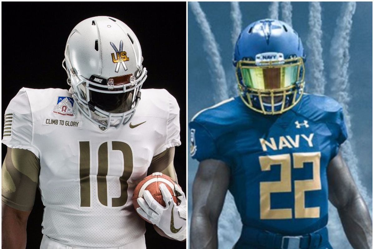 5baf84788 The annual Army-Navy Game is known for a lot of things. One of the coolest  new traditions  Each team wearing alternate uniforms that honor specific  elements ...