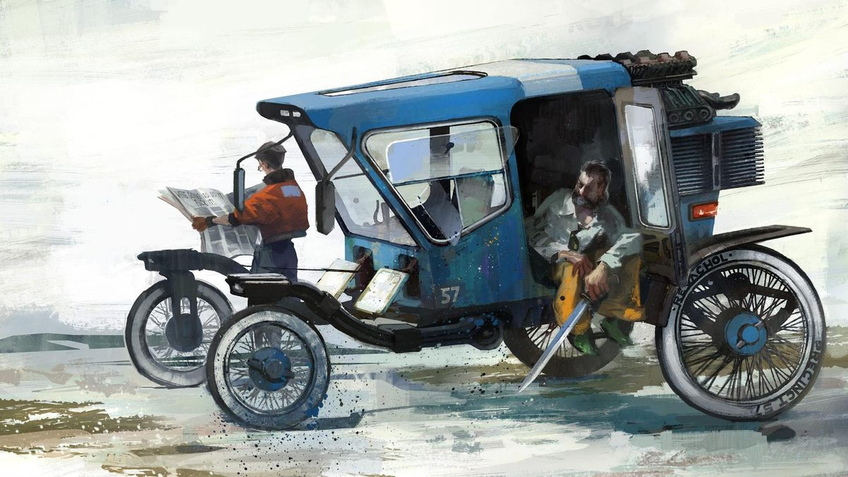 artwork of Disco Elysium's main characters, Kim Kitsuragi (left) and the ever-changing protagonist (right), lounging around a buggy