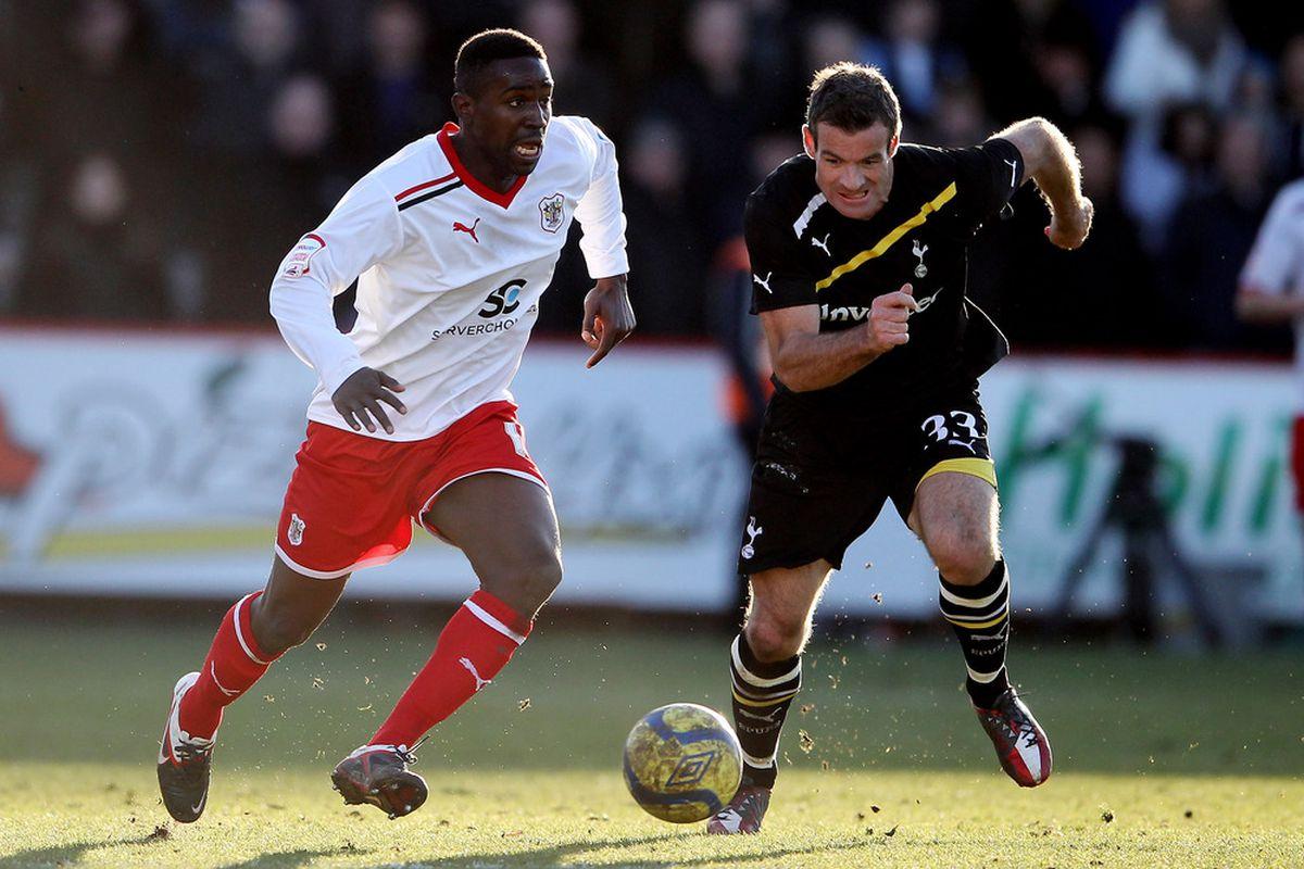 Nelsen in action.  Against Stevenage.