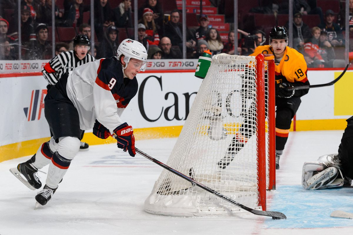 Jack Eichel finishes off his amazing wraparound goal against the Germans in Sunday's World Junior Championship preliminary round game.