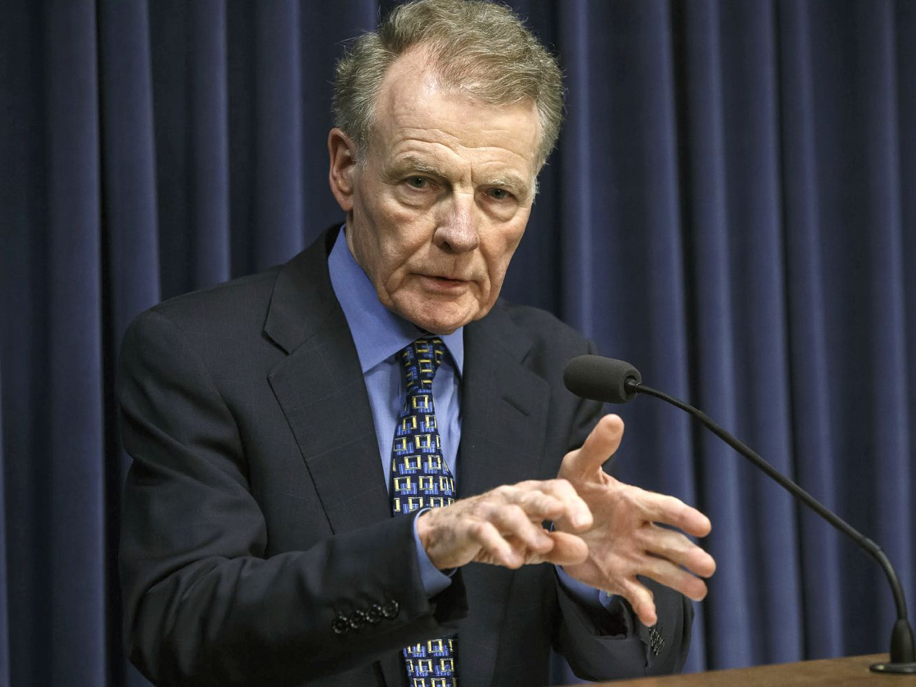 FILE - In this July 26, 2017, file photo, Illinois House Speaker Michael Madigan, D-Chicago, speaks at a news conference at the Capitol in Springfield, Ill.