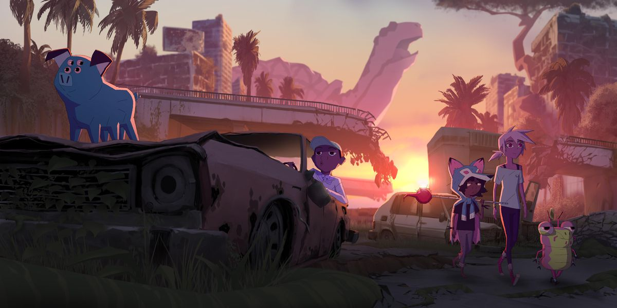 kipo and wolf watch the sunset, benson is near them. mandu the mutant pig perches on a ruined car. everything is swathed in oranges and reds