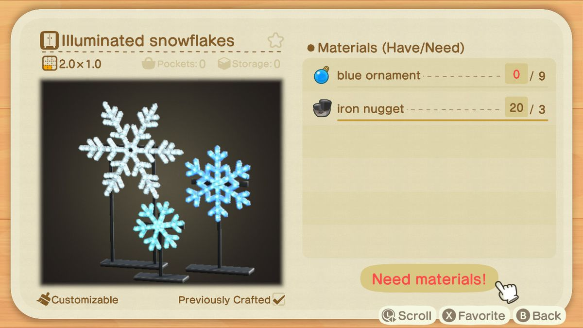An Animal Crossing recipe for Illuminated Snowflakes