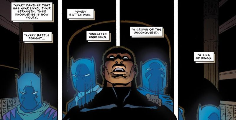 The Panther Goddess Bast appoints T'Challa, the Black Panther, King of the Dead, in Fantastic Four #608, Marvel Comics, 2012.