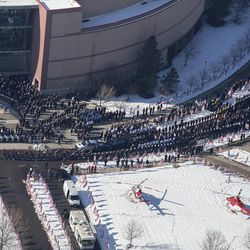 The funeral procession for Unified police officer Doug Barney makes its way out of the Maverick Center in West Valley City on Monday, Jan. 25, 2016, and toward the Orem City Cemetery, where he will be laid to rest. Barney was shot and killed in the line of duty by a man who seemingly had done nothing more than leave the scene of a traffic accident on Sunday, Jan. 17, 2016.