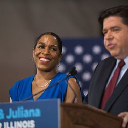 Rep. Juliana Stratton looks on as gubernatorial candidate JB Pritzker announces Stratton as his running mate at Sherwood Park on August 10, 2017.   Max Herman/For the Sun-Times.