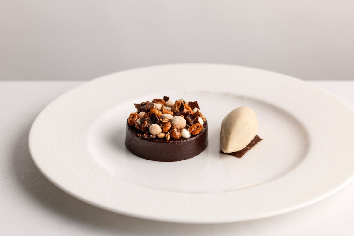 Giles Coren reviews the dark chocolate pudding with salted caramel, malted milk ice cream and crystallised nuts at Kerridge's Bar and Grill, the new London restaurant from chef Tom Kerridge