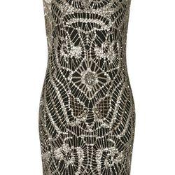 JEWEL BEAD OVERLAY DRESS, $790