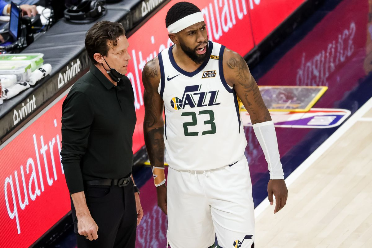 Utah Jazz head coach Quin Snyder talks to forward Royce O'Neale (23) after O'Neale was charged with a technical foul during the game against the Memphis Grizzlies at Vivint Smart Home Arena in Salt Lake City on Friday, March 26, 2021.
