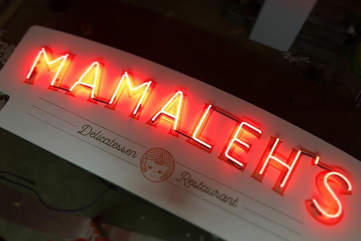 mamaleh's neon signage
