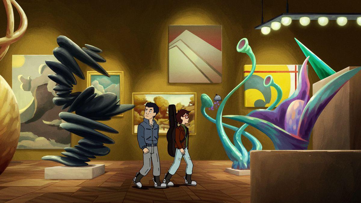 ryan and min-gi walk through an art gallery
