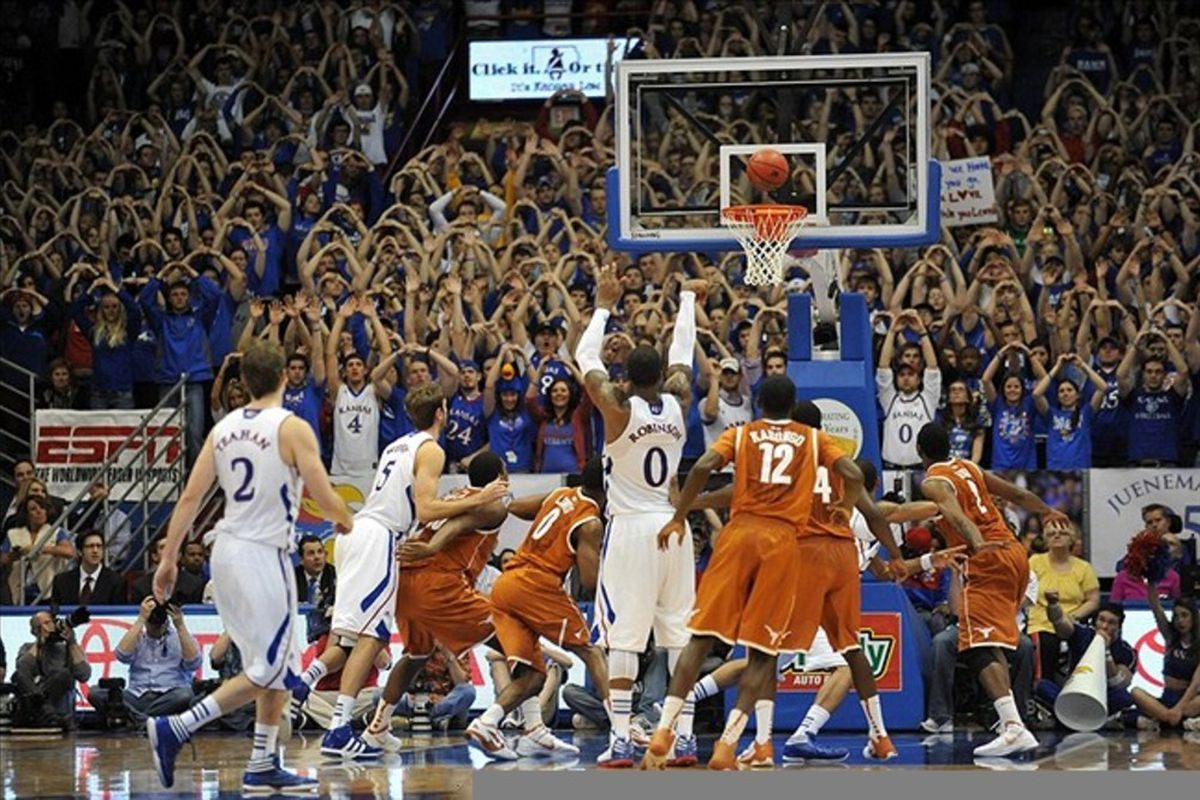 March 03, 2012; Lawrence, KS, USA; Kansas Jayhawks forward Thomas Robinson (0) sinks a free throw in the second half of the game against the Texas Longhorns at Allen Fieldhouse. Kansas won the game 73-63. Mandatory Credit: Denny Medley-US PRESSWIRE