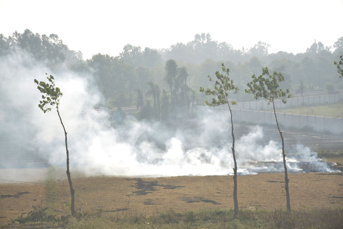 A fire to rid of crop stubble raises smoke at a farm near Masuri on November 4, 2019 in Ghaziabad, India.