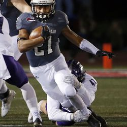 Southern Utah Thunderbirds running back Jay Green runs the ball against the Weber State Wildcats during NCAA football in Cedar City on Saturday, Dec. 2, 2017.