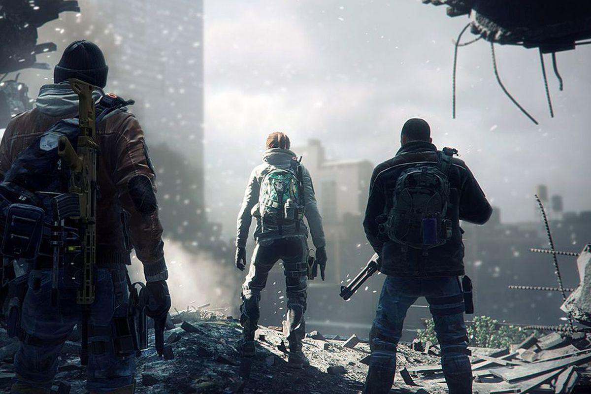 The Division screenshot-- three scavengers look through a hole in a run down skyscraper