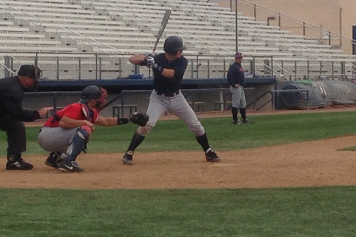 Kevin Newman bats in intrasquad scrimmage