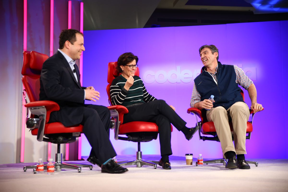 Recode's Peter Kafka and Kara Swisher with Oath CEO Tim Armstrong at Code Media 2018