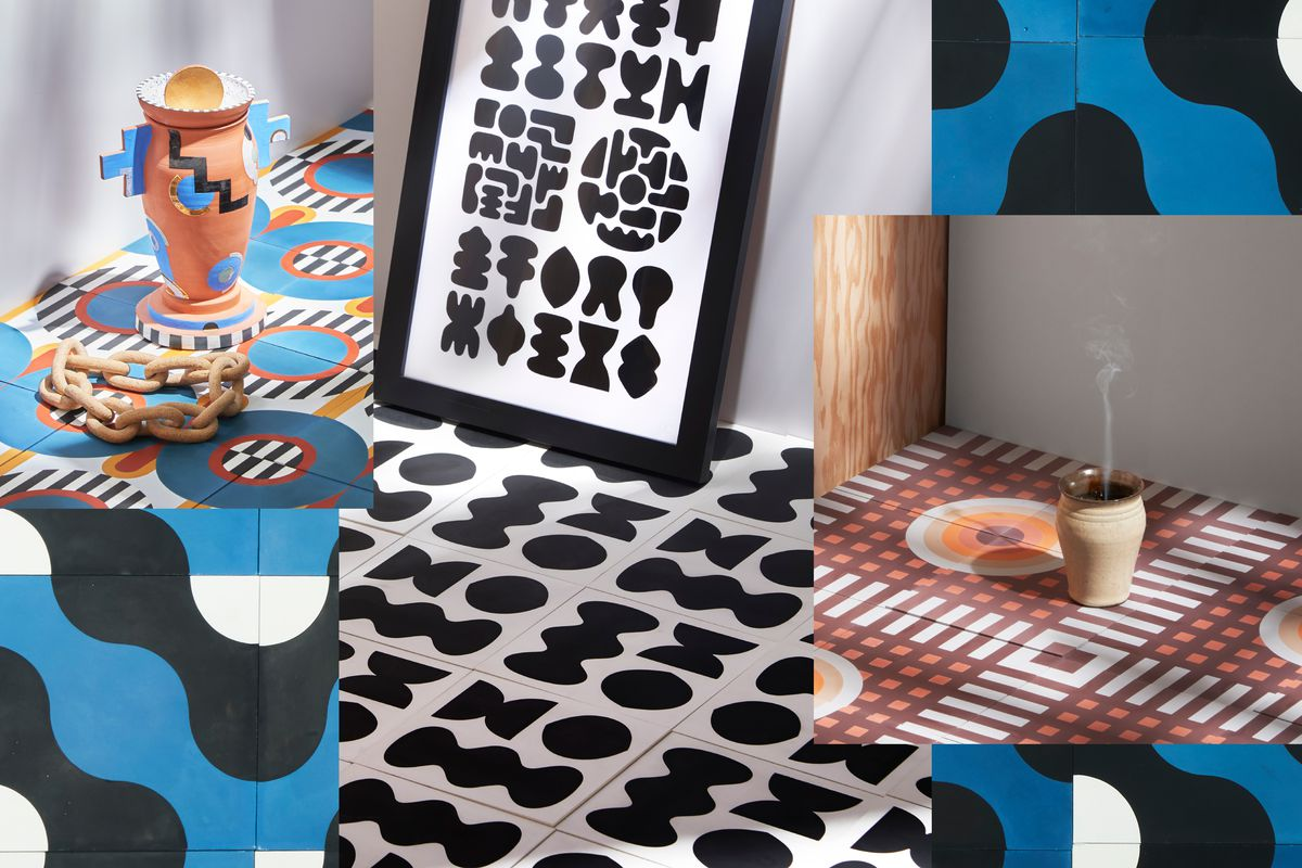 A collage of tile whose patterns include black blob-like shapes on white, an orange and mauve checkerboard, and blue and black waves