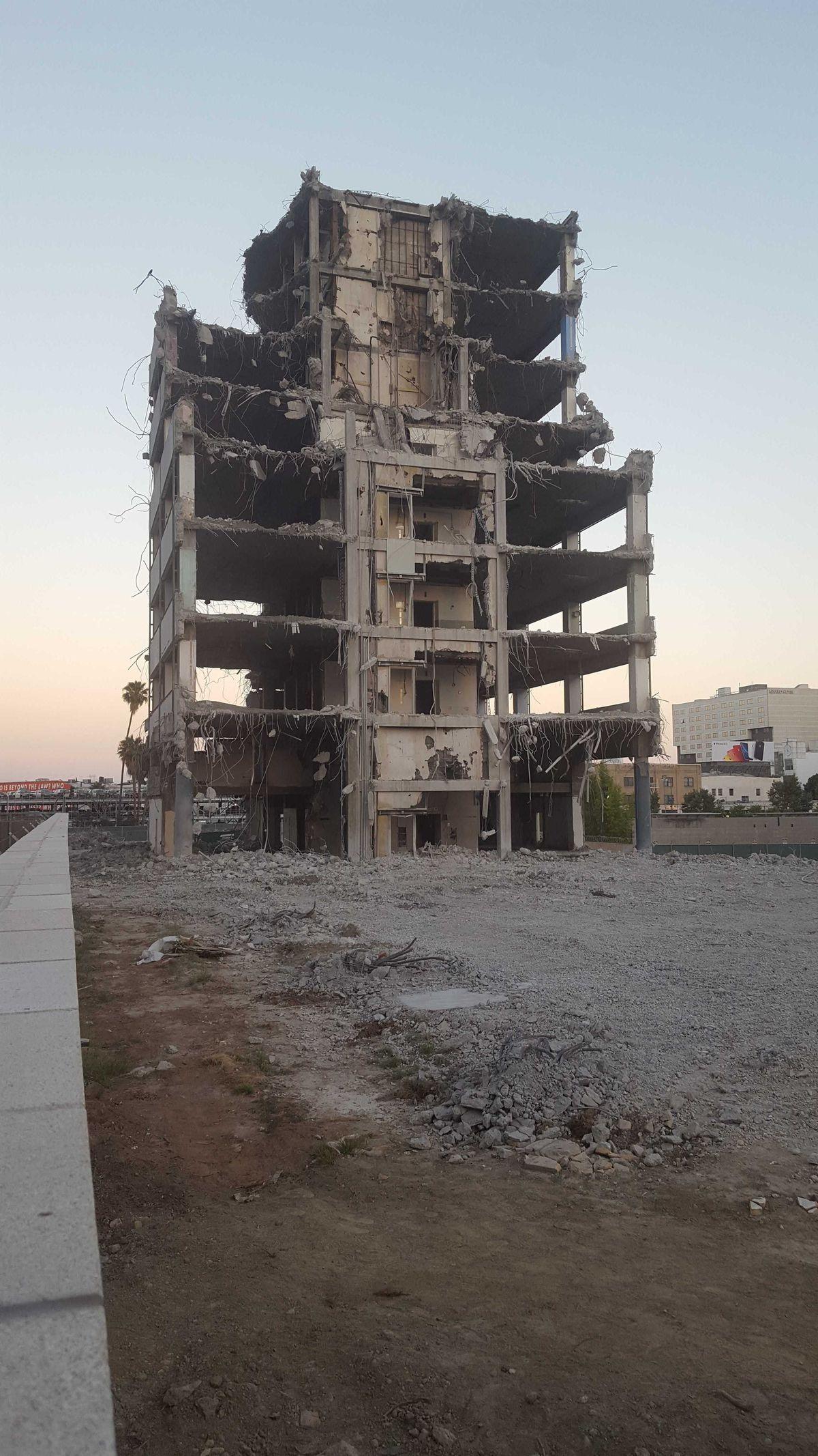 Parker Center demolition from ground level