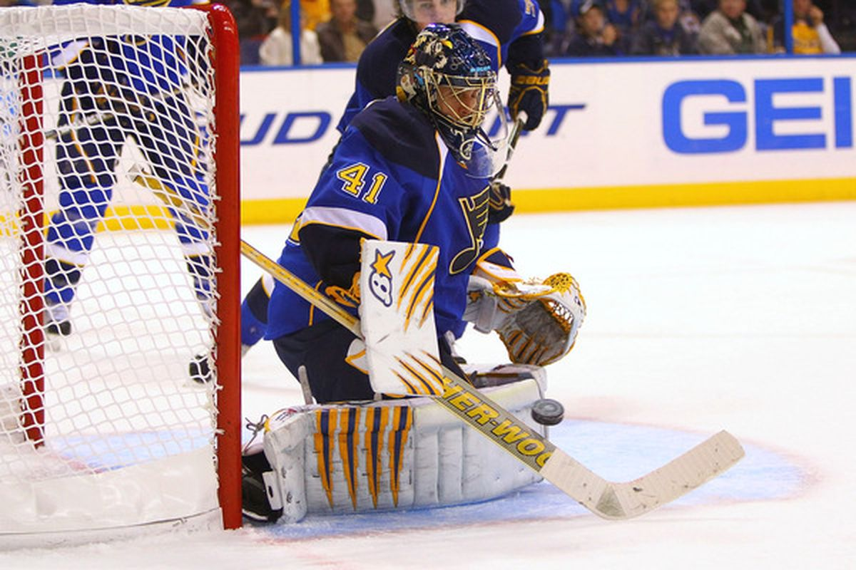 ST. LOUIS - NOVEMBER 4: Jaroslav Halak #41 of the St. Louis Blues makes a save against the San Jose Sharks at the Scottrade Center on November 4 2010 in St. Louis Missouri.  The Blues beat the Sharks 2-1.  (Photo by Dilip Vishwanat/Getty Images)