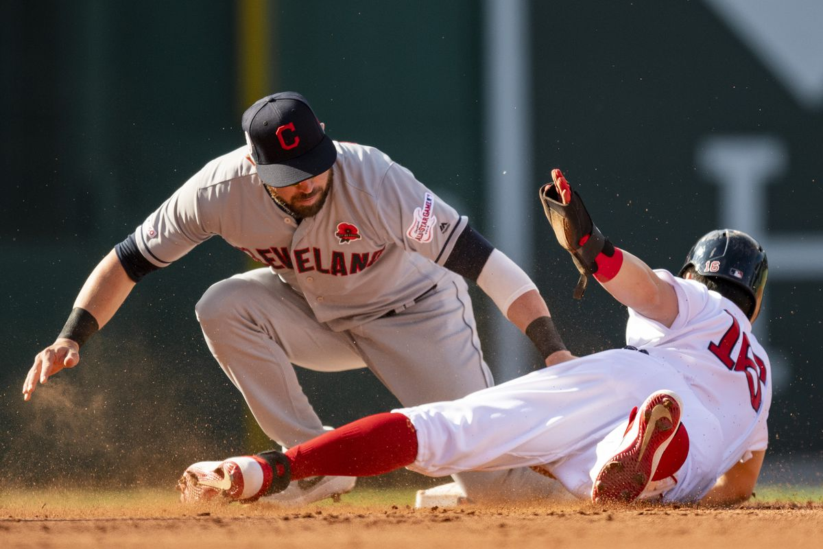 Andrew Benintendi #16 of the Boston Red Sox evades the tag of Jason Kipnis #22 of the Cleveland Indians as he steals second base during the third inning of a game on May 27, 2019 at Fenway Park in Boston, Massachusetts.