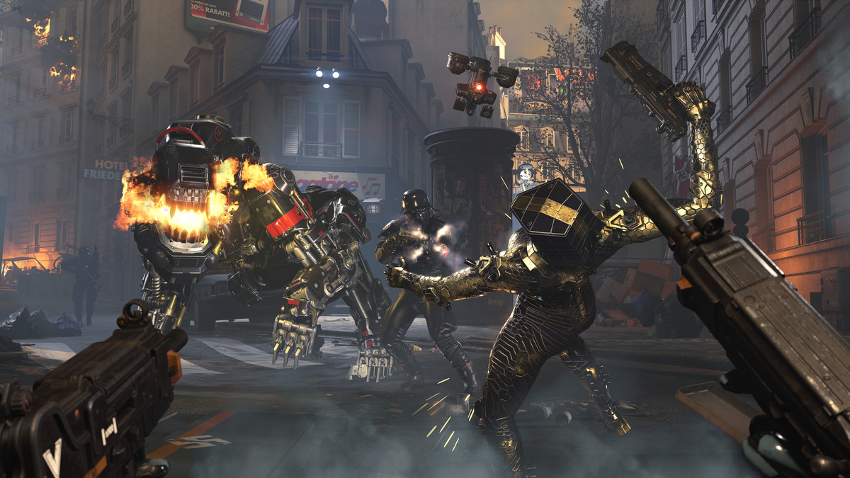 two characters in scaly, powered armor fight futuristic Nazis and a giant, robotic dog in Wolfenstein: Youngblood