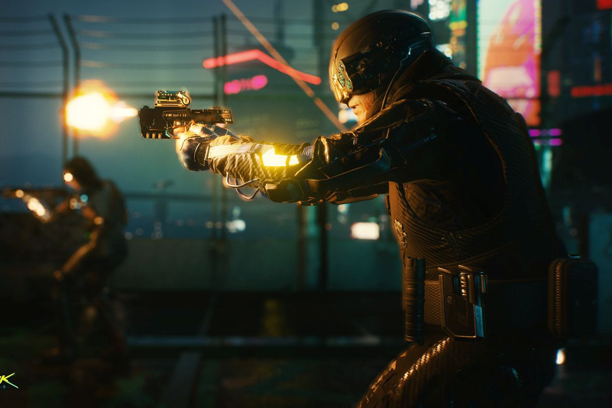 A member of Max Tactical response takes aim and fires in Cyberpunk 2077.