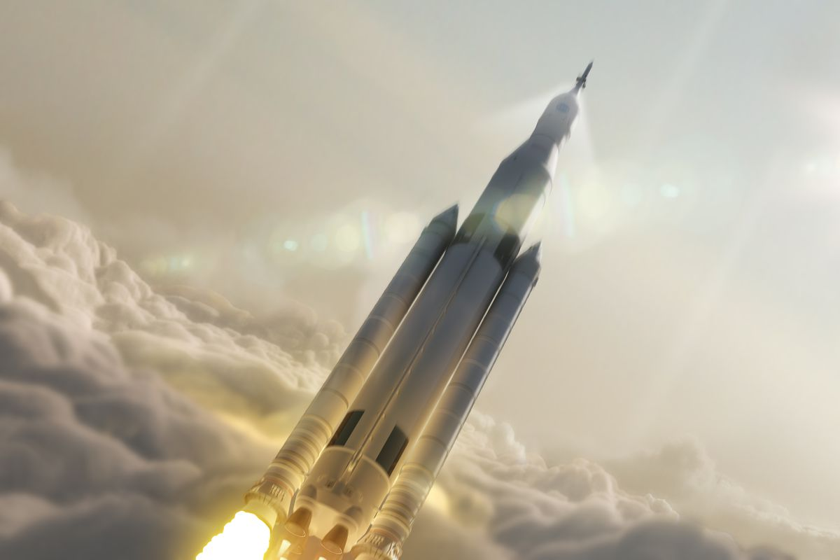 A rendering of SLS, the rocket system being developed for an eventual Mars mission.