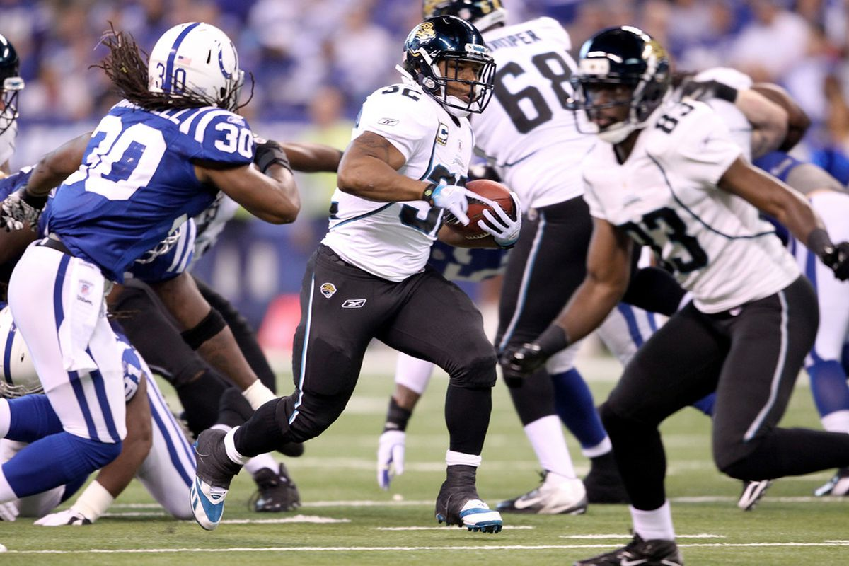 INDIANAPOLIS, IN - NOVEMBER 13:  of the Jacksonville Jaguars during the game against the Indianapolis Colts at Lucas Oil Stadium on November 13, 2011 in Indianapolis, Indiana.  (Photo by Andy Lyons/Getty Images)