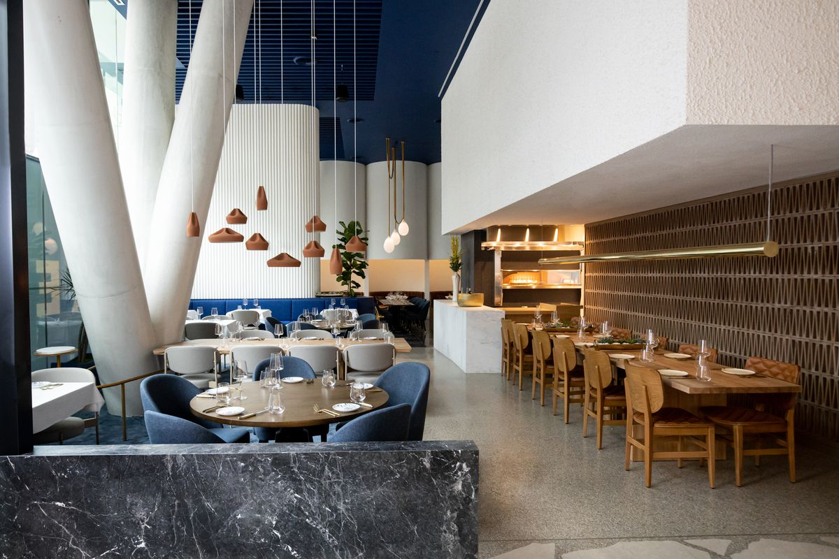 The austere dining room at Imperfecto was designed by Greek-Swedish firm OOAK Architects