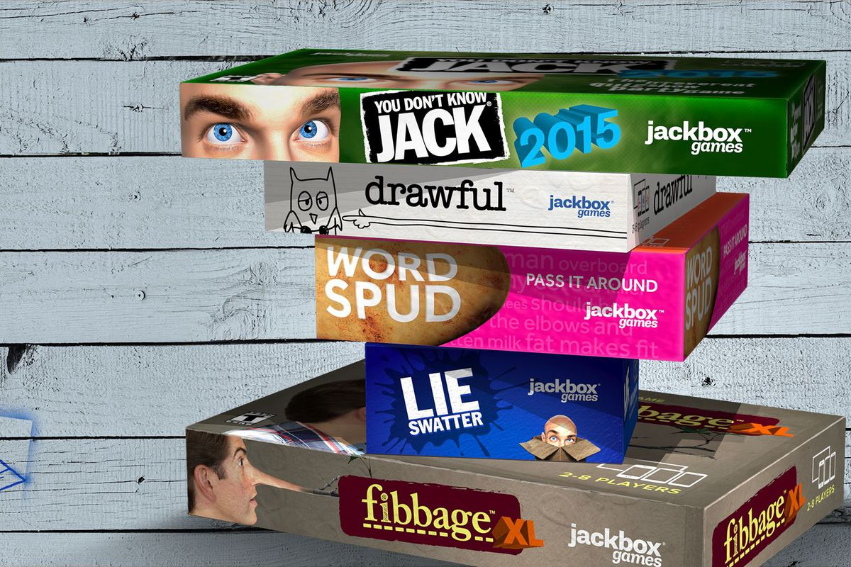 A stack of game boxes for the Jackbox Party Pack 1— Fibbage XL, Lie Swatter, Word Spud, Drawful and You Don't Know Jack 2015