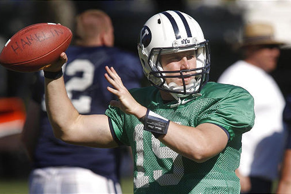 BYU quarterback Max Hall looks to pass while at practice last Thursday. During Saturday's scrimmage, Hall led the offense on an 80-yard touchdown drive and another scoring drive that went 66 yards.