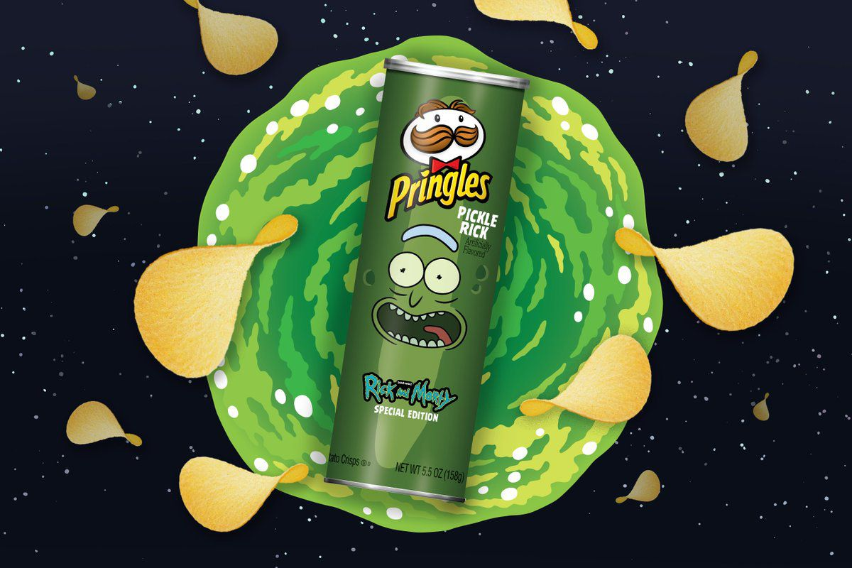 """A Pringles can of """"Pickle Rick"""" chips in front of a green and black background with floating chips around it"""