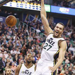 Utah Jazz center Rudy Gobert slams over the San Antonio Spurs in Salt Lake City Thursday, Feb. 25, 2016.