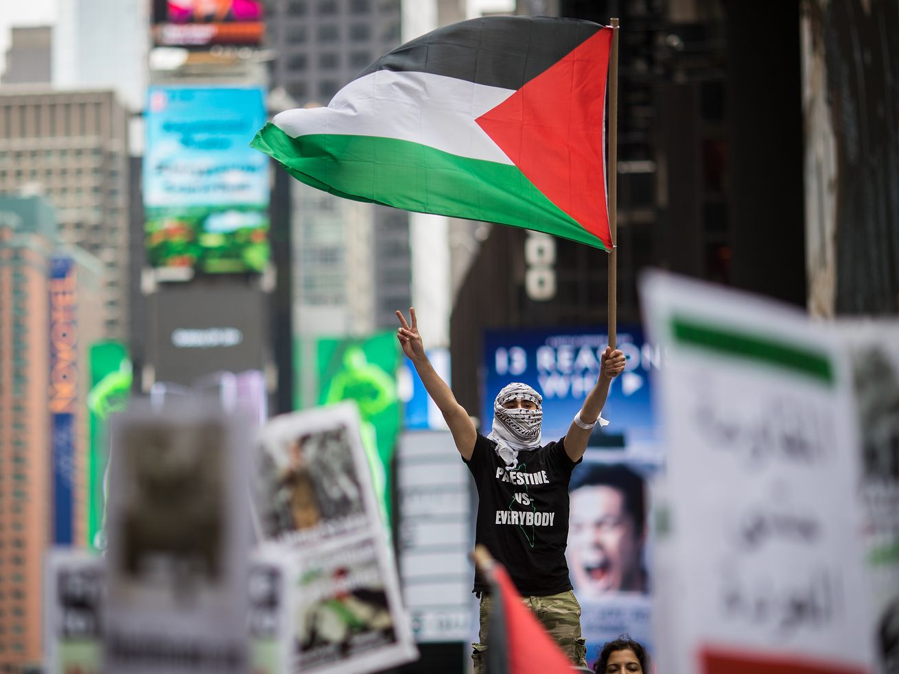 A pro-Palestinian rally in New York in May 2018.