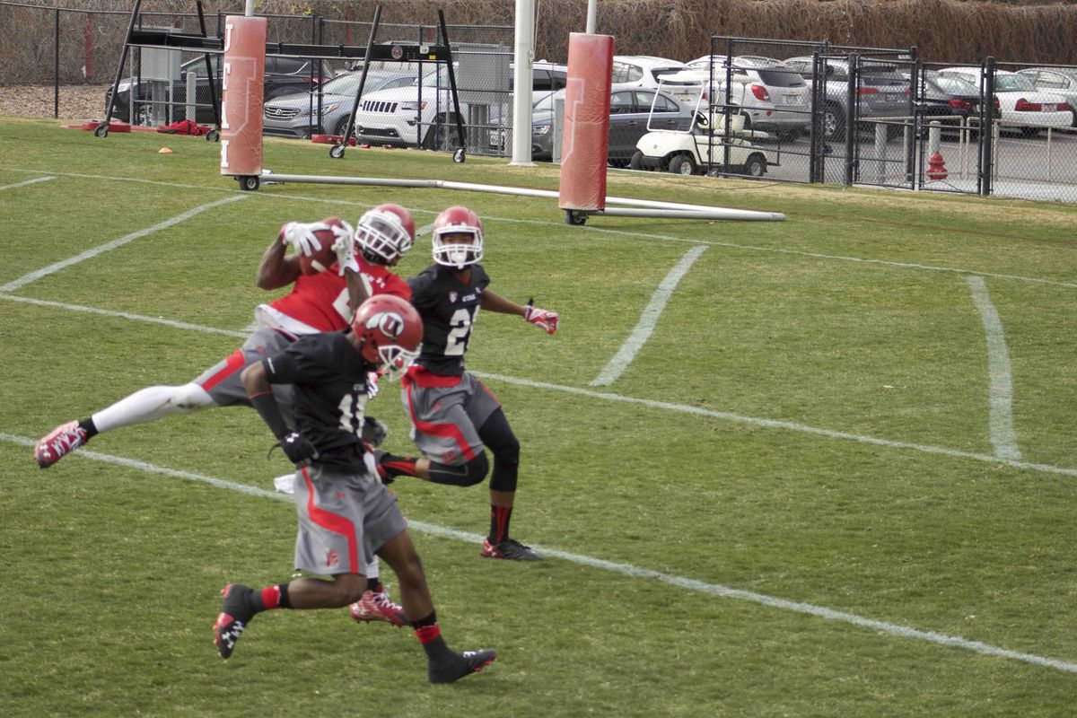 Kenneth Scott goes up for a pass in day one of Utah Football spring practice.